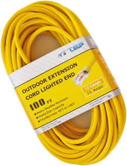 12 Gauge 100 Ft. SJTW Yellow Cord