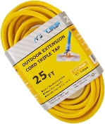 12 Gauge 25 Ft. Triple Tap SJTW Yellow Cord