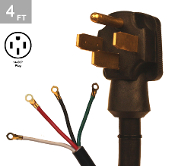 6/2-8/2 SRDT 50 Amp 4 Ft. 4 Wire Range Cord Kit